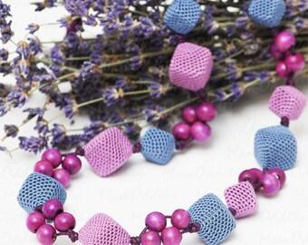 Lavender flowers Crochet necklace Flower necklace Purple flowers Crochet jewelry Cubes Purple necklace Lilac color Blue and purple Spring