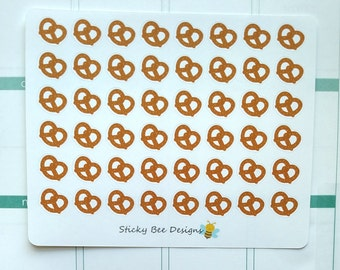48 Pretzel Stickers