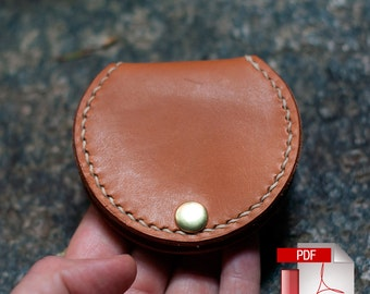 Leather Coin Pouch With Snap Closure Digital PDF Template - Leather Pattern (8.5 x 11)
