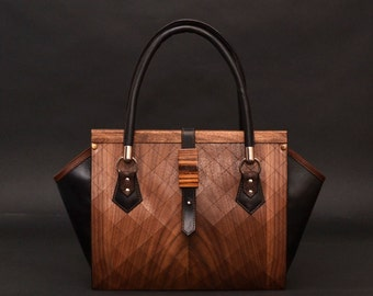 Wood and leather bag FIRST. Fashion luxuary bag