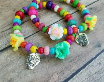 Dia de los Muertos bracelet. Day of the Dead bracelet. Rose bracelet. Sugar skull bracelet