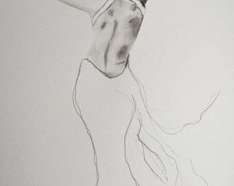 Lady in Backless dress GICLEE PRINT 11.5 x 16 inches (29 x 42cm)