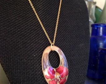 Cloisonne pendant, cloisonne pendants, flower cloisonne pendant, cloisonné necklace, cloisonné pendants, vintage cloisonné jewelry, N135