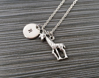 Antique Silver Giraffe Necklace - Safari Necklace - Personalized Necklace - Initial Necklace - Mother Gift - Custom Giraffe Necklace