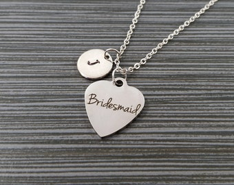 Silver Bridesmaid Necklace - Bridesmaid Charm Necklace - Personalized Necklace - Custom Gift - Initial Necklace - Wedding Necklace