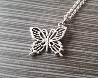 Silver Butterfly Necklace - Butterfly Charm Pendant - Personalized Necklace - Custom Gift - Initial Necklace - Personalized Insect Necklace