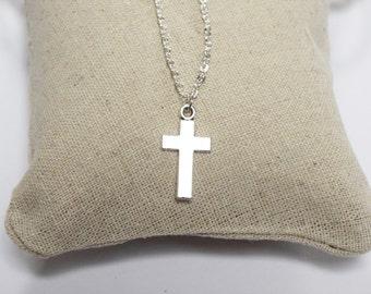 Cross Necklace - Silver necklace - Silver cross necklace - Christian necklace - Chain necklace - Mens necklace - cross pendant necklace