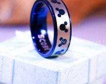 Blue Tungsten Band with Flat Pipe Edge Mickey Mouse Ring, Minnie Mouse Ring, Disney Ring, Mickey Mouse Wedding Band- 8mm Tungsten Ring