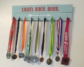 Running medal holder, Race medal display, Race medal holder, Running medal hanger. Wooden sign.  Gift for runners.