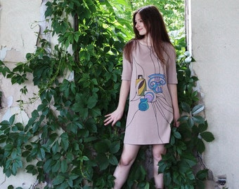 Summer Dress Beige Geometric Dress Hand Painted Casual Dress Ancient Greek Motifs Shift Dress