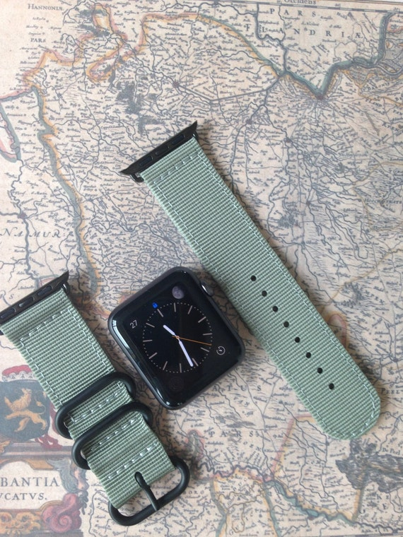 Apple watch original, series 1, series 2 band: Zulu strap (black rings) 2-piece (Gray) 42mm, Free Shipping Worldwide! Premium Collection