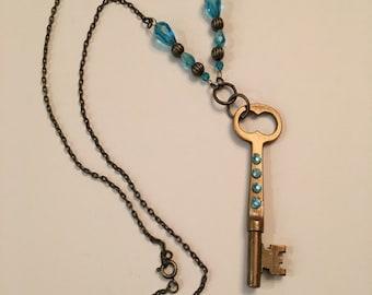 vintage key, necklace, skeleton key, embellished key necklace, bronze, boho