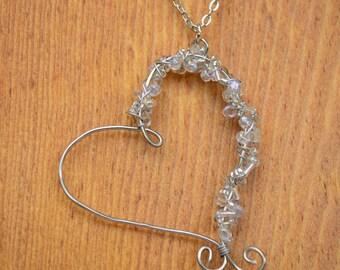 Handmade Beaded Crytal Heart Necklace