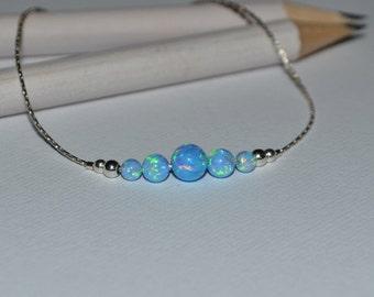 OPAL BRACELET // Tiny Opal Bracelet Silver - Blue Opal Ball Bracelet - Dot Bracelet - Single Bead Bracelet - Opal Bead Bracelet
