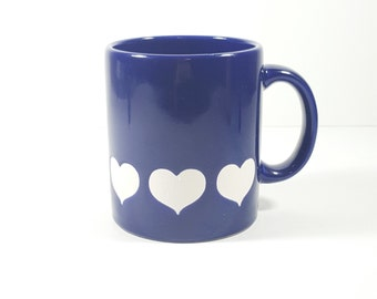 Vintage Waechtersbach Blue Plum Mug with White Hearts. Made in West Germany.