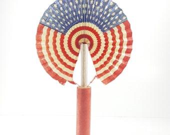 "Antique Vintage Paper ""Cigar"" Fan with American Flag. WWII Era Historical Decoration. Historical Centerpiece. Patriotic Decor."