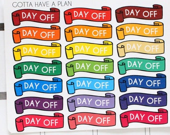Planner Stickers Day Off Banner for Erin Condren, Happy Planner, Filofax, Scrapbooking