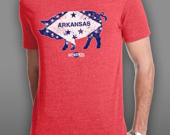 Arkansas Pig Flag Blended T-Shirt