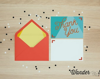 Playful Bright Coloured Thank You Card - DIGITAL DOWNLOAD
