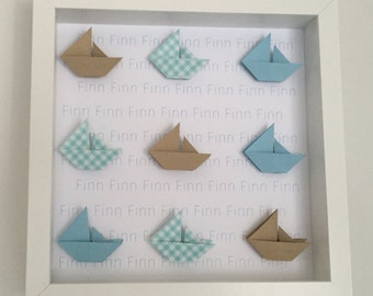 Personalised, boat origami wall frame, baby boy gift, naming gift