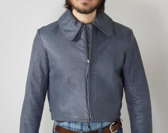 Vintage Leather German Military Jacket Men's Small, Women's Medium/Large