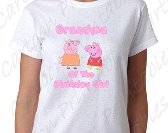 Peppa Pig Grandma of the Birthday Girl IMAGE Printable Clip Art Iron on Shirt T-shirt transfer Scrapbook Instant Download DIY Party Favor