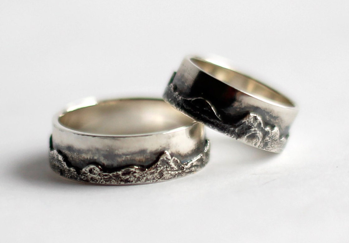 wedding band set wedding ring set mountain by