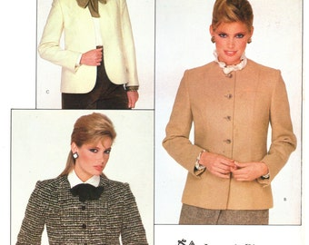 80's Vogue American Designer 2828 Joseph Picone Semi-Fitted, Lined Jacket in Two Lengths, Uncut, Factory Folded, Sewing Pattern Size 12