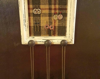 Jewelry organizer, frame jewelry holder, burlap earring holder, shabby chic jewelry display, distressed frame, plaid burlap