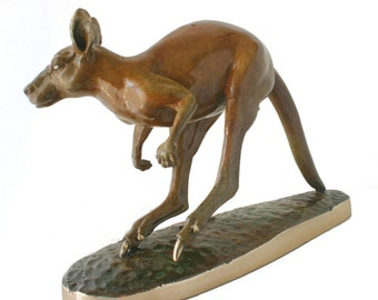 Bronze Kangaroo big red turning sharply with the aid of his powerfull tail.  cast in my own foundry.  signed  a limited edition of 100