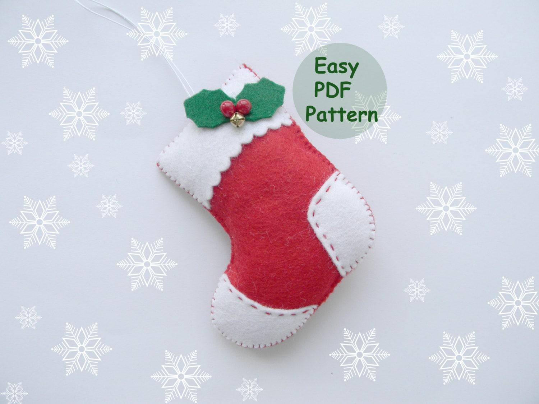 Pdf pattern felt stocking easy christmas stocking ornaments for Felt stocking decorations