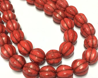 10mm Red Howlite Gemstone Pumpkin Beads - 15.5inch Full strand - Howlite Beads