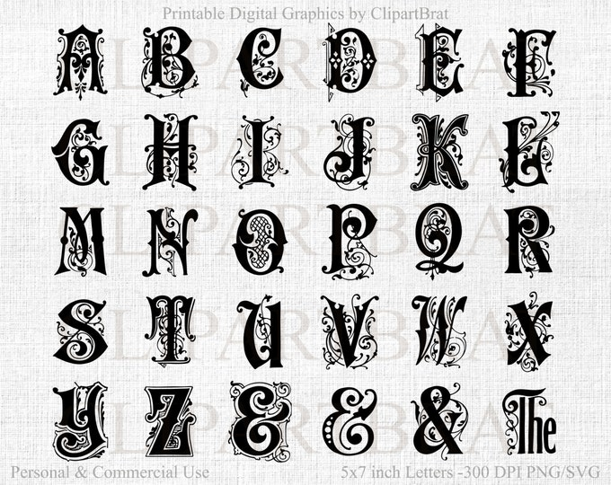MONOGRAM ALPHABET Clipart Commercial Use Clipart Ornate Alphabet Letters Fancy Alphabet Font Wedding Monogram Alphabet Letters Png/Svg