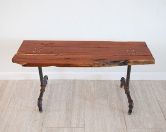 in stock ready to ship steel base coffee table live edge