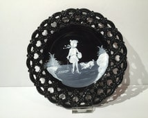 Westmoreland Glass Mary Gregory Black Milk Glass Collectible Plate, Ice Skating Girl with Dog, Vintage Hand Painted Collectible Plate