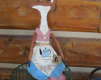 Fox Girl Primitive Soft Sculpture Doll Pink dress Vintage Teacup apron