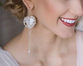 Unusual bridal earrings- White dangle earrings- Heart earrings- Chandelier wedding earrings- Swarovski bridal earrings- Gift for bride