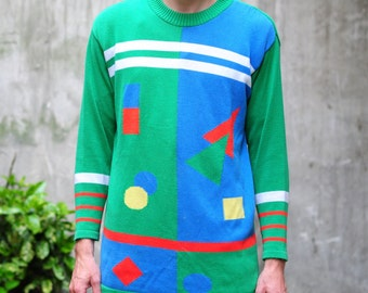 Colorful & geometric sweater, fashionable and hipster