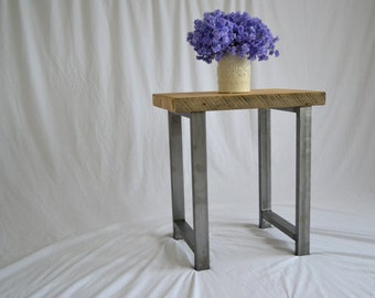 Reclaimed Wood Industrial End Table