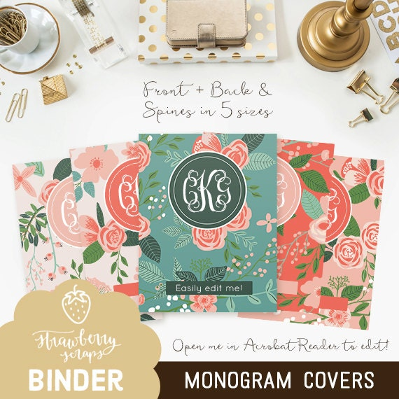 Floral Monogram Binder Cover Printable 5x Set Covers