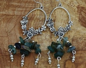 Indian Agate Chandelier Earrings ~ Natural Chip Stones ~ Green Stone Earrings ~ Healing Stones ~ Semi Precious Stones ~ Boho Jewellery