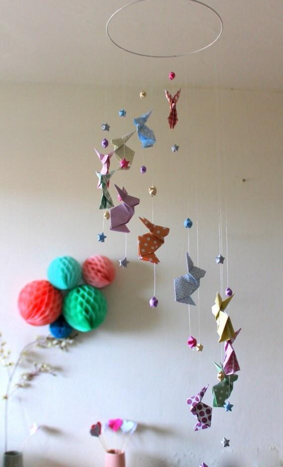 mobile b b origami lapins pastels zen et etoiles. Black Bedroom Furniture Sets. Home Design Ideas