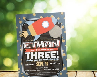Space Birthday Invitation - Personalized Printable DIGITAL FILE - Rocket Ship Birthday Invitation