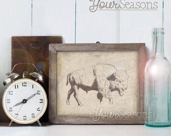 Items Similar To Rustic Art Buffalo Print Wood Grain