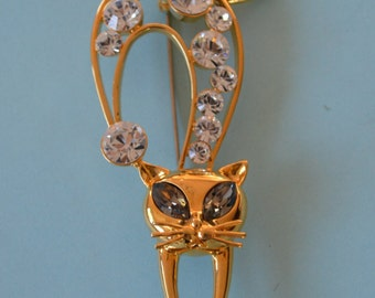 Vintage Butler Fifth Avenue Collection Rhinestone Cat Brooch