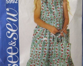 PATTERN BUTTERICK see & sew 5992 dress for little girl 4-6 years