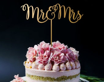 Mr and Mrs Cake Topper, Wedding Cake Topper, Gold Cake Topper, Custom Cake Topper for Wedding & Anniversary A2038