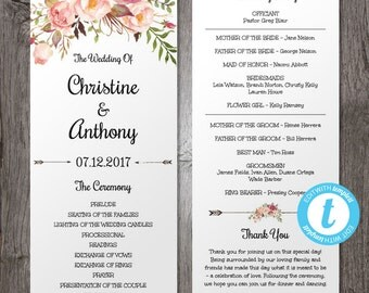 Floral Bohemian Wedding Program Template, Instant Download - Edit in Our Web App, Printable, Tea Length Program