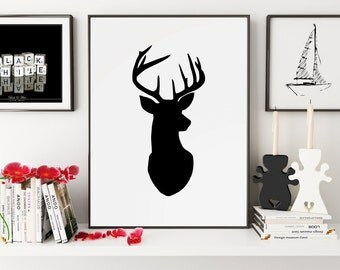 Deer Poster, Deer Wall Art, Deer Print, Deer Art, Deer Silhouette, Deer Decor, Deer Wall Decor, Wall Art, Wall Prints, Printable Art