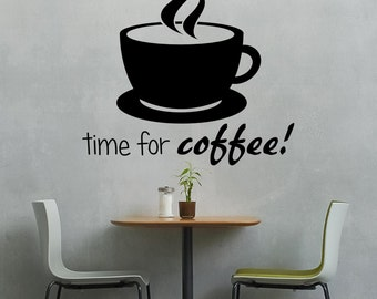 Wall decal coffee wall sticker kitchen vinyl office 60 colors